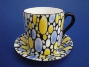 Shelley 'Bubbles' Mocha Coffee Can and Saucer c1925 #2